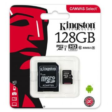 Kingston 128GB Canvas Select Micro SDXC Card with SD Adapter